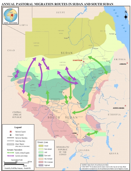 Map 5.1 - Annual Pastoral Migration Routes in Sudan and South Sudan- no map number-portrait