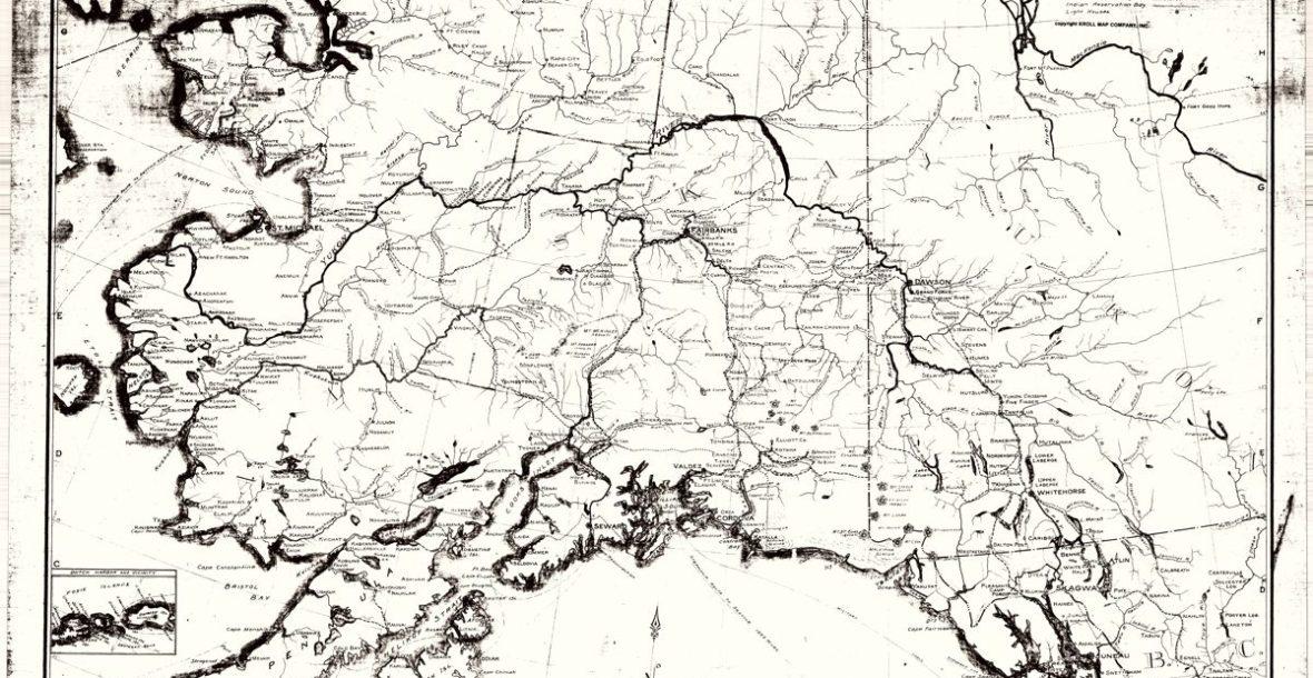"Anderson Map Co's Map of Alaska and Yukon, circa 1900 36""x 34"""