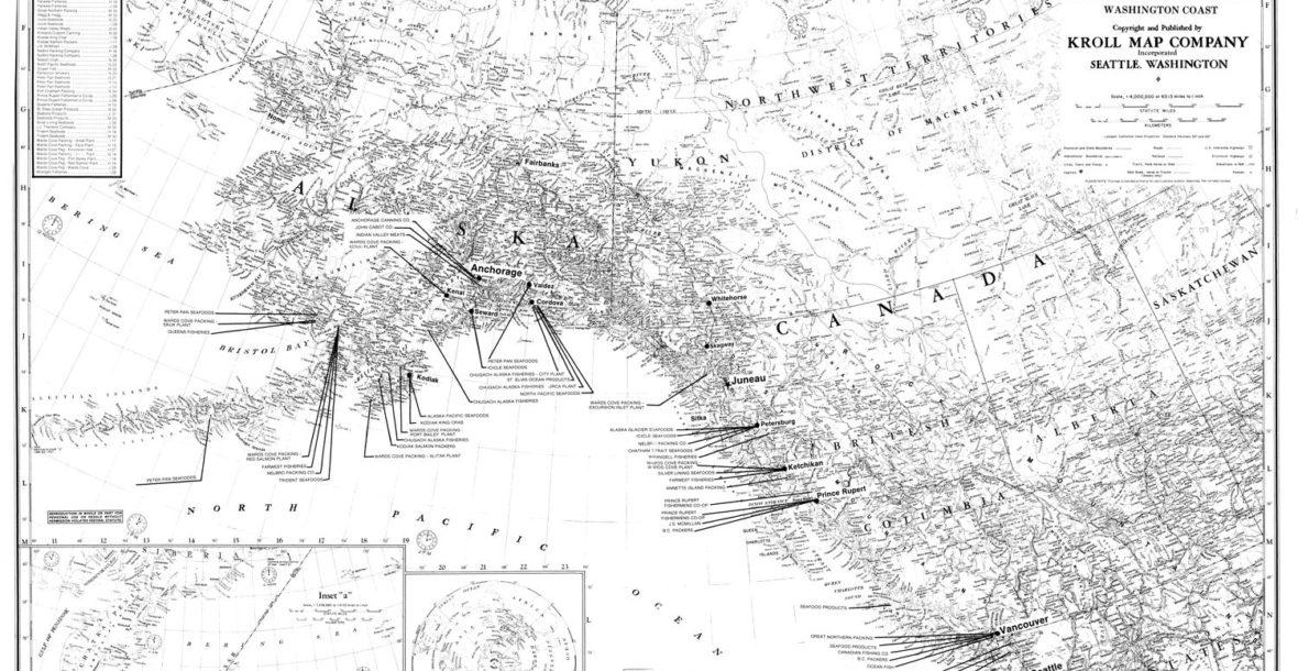 "Kroll Map Company's Alaska Cannery Map, circa 1988, 36""x 25.5"""