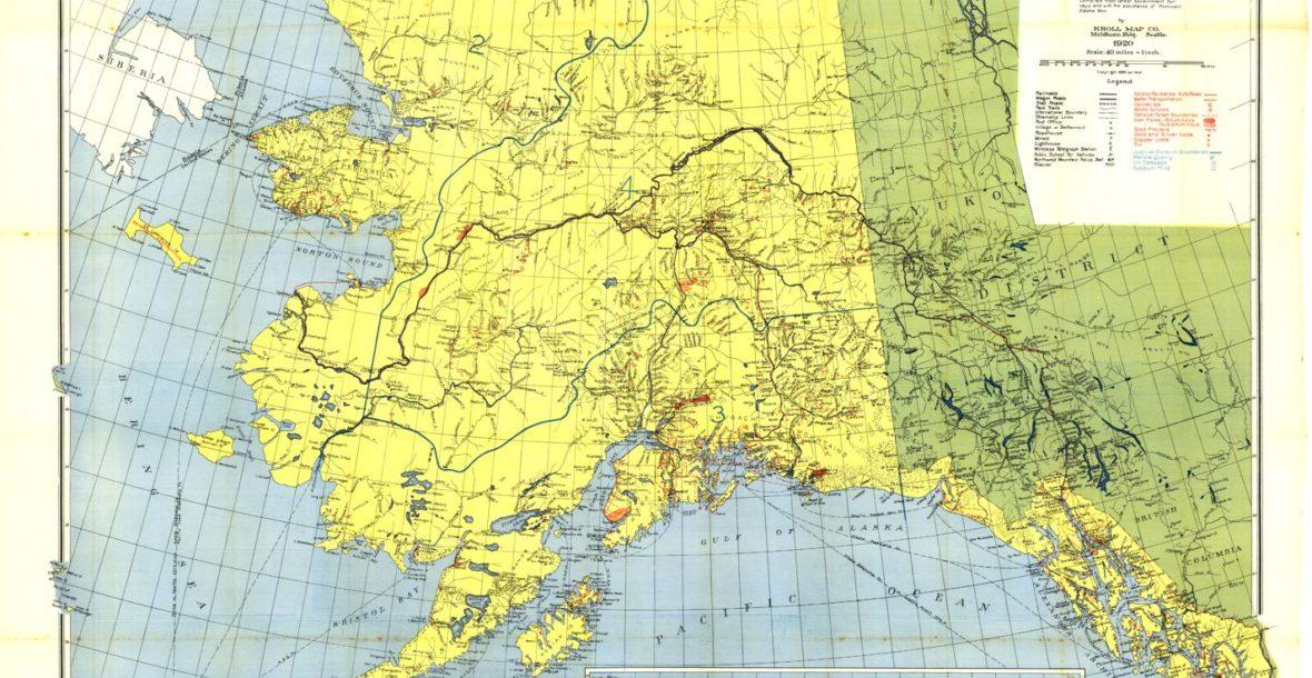 "Kroll's Standard Map of the Territory of Alaska, circa 1920, 36""x 28.5"""