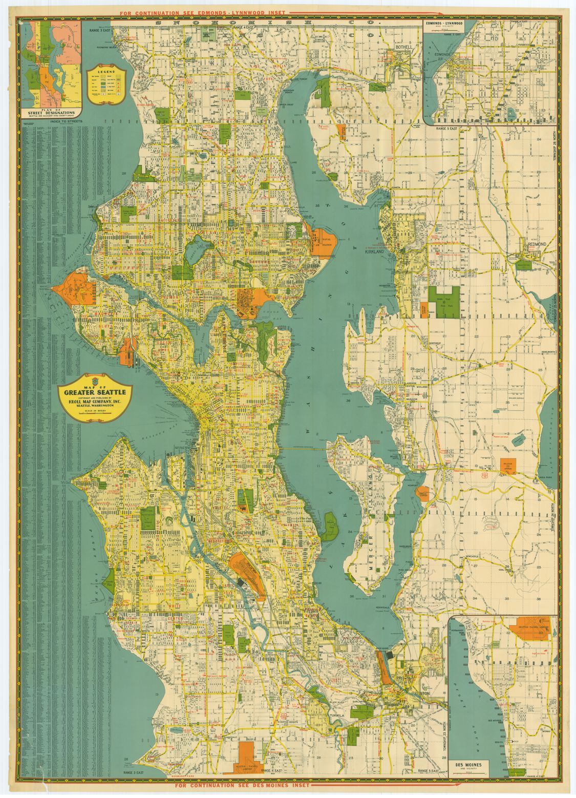 greater seattle 1940s Kroll Map Company
