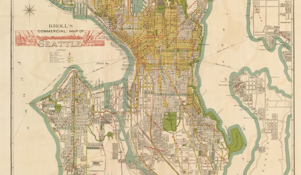 Kroll's Commercial Map of Seattle, circa 1920