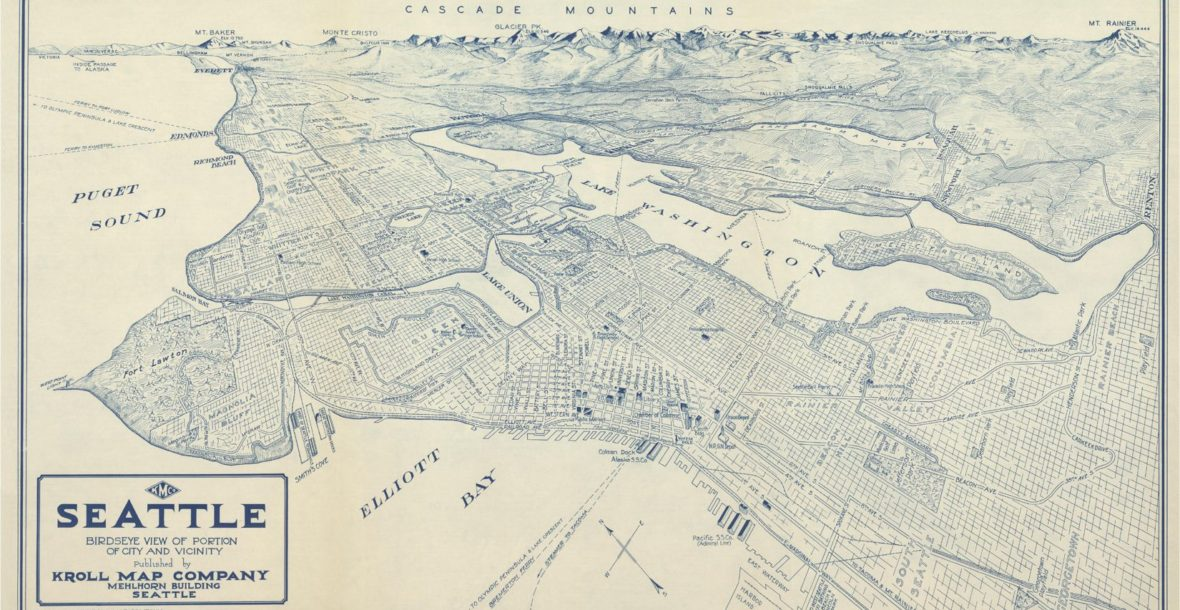 Seattle Birdseye View of a Portion of City and Vicinity, circa 1925