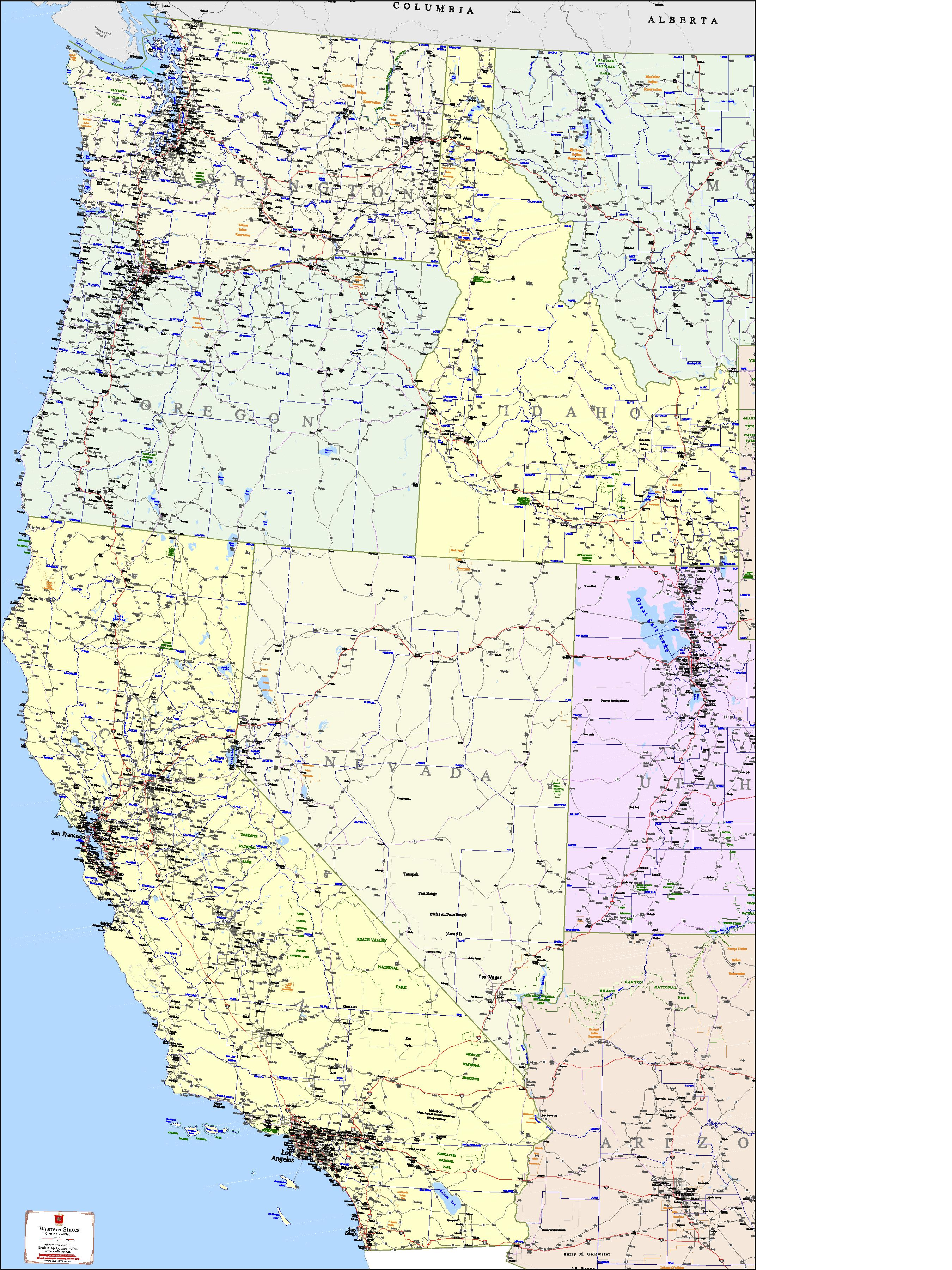 Image of: West Coast States Map Kroll Map Company